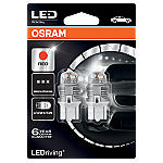 580 Osram Long Life LED Retrofit Red 12V 7443 W21/5W Wedge Bulb